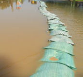 Sandbags flood protection Royalty Free Stock Photography