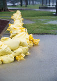 Sandbags in Flooded Park Royalty Free Stock Images