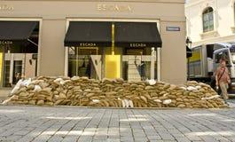 Sandbags outside Escada store, Dresden, Germany Stock Photography