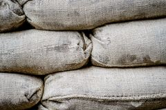 Sacks full of sand for barricades in Nicosia, Cyprus royalty free stock images