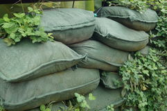 Sandbags and plant seedlings Stock Photography