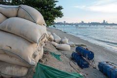 Sandbags protect erosion along the Pattaya beach, Chonburi, Thai Stock Image