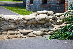 Sandbags protect by flooding Royalty Free Stock Photo