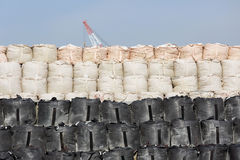 Sandbags for protection. Big sandbags for protection against a blue sky Royalty Free Stock Photo