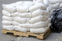 Sandbags. Stacked bags of construction materials Royalty Free Stock Photo