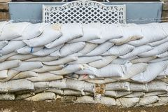 Sandbags to prevent flooding. Sandbag to prevent flooding in the rainy season, preventive concept royalty free stock photo
