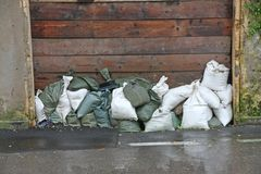 Sandbags to protect against flooding of the River during the flo stock photography