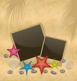 Sandbakgrund med fotoramar, sjöstjärnor, kiselstenstenar, se Arkivfoton