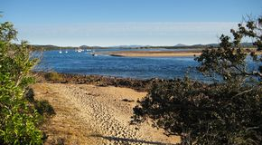 Sandbank. View over a low tide area near Agnes Water, Australia stock images