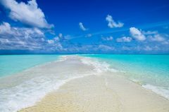 Sandbank at Kuramathi island resort in Maldives stock photo