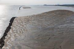 Sandbank in river Seine near harbor of Le Havre, France Stock Images