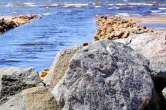 Sandbank, the wave rolls to the shore stock photo