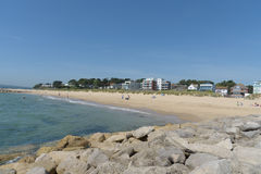 Sandbanks beach with apartments. Sandbanks beach with seafront apartments Royalty Free Stock Photo