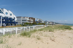 Sandbanks beach and apartments. Sandbanks beach and seafront apartments Royalty Free Stock Photography