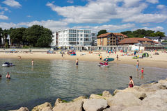Sandbanks beach on the tip of Poole Harbor in Dorset Royalty Free Stock Photography
