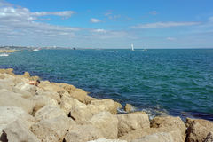 Sandbanks beach on the tip of Poole Harbor in Dorset Royalty Free Stock Photos