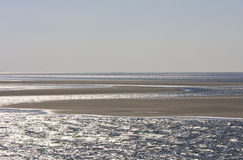 Sandbanks in dutch Waddenzee near Ameland island Royalty Free Stock Photo