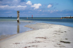 Sandbar near waterway Royalty Free Stock Image