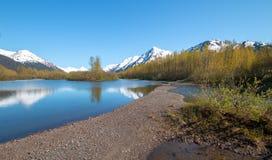 Sandbar och kust på älglägenhetvåtmark och Portage liten vik i den Turnagain armen nära ankringen Alaska USA arkivbild