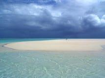 Sandbar Storm. Storm approaching over sandbar Stock Image