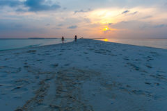 Sandbar and Sunset Royalty Free Stock Images