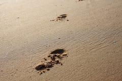 Sandbeach e pegada Foto de Stock Royalty Free