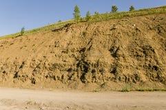 Sandberg Ural landskap medf8ort öknen like arkivbild