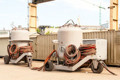 Sandblaster tanks Royalty Free Stock Images