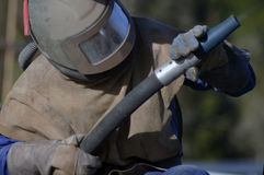 Sandblaster at work Stock Photography