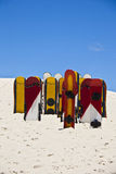 Sandboards στους αμμόλοφους Joaquina, Florianopolis - Βραζιλία Στοκ Φωτογραφίες