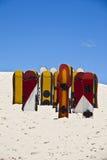 Sandboards aux dunes de Joaquina, Florianopolis - Brésil Photos stock