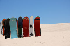 Sandboards and dunes Royalty Free Stock Photos