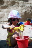 Sandbox. Preschooler playing in a sandbox royalty free stock photos