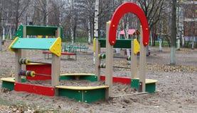 Sandbox. On the playground, fall, nobody Stock Photos