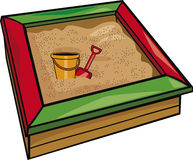 Sandbox with toys. Cartoon illustration Royalty Free Stock Photos