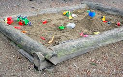 Sandbox and toys for kids. View of the sandbox and toys for kids Stock Image