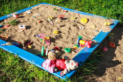 Sandbox with toys Royalty Free Stock Photos