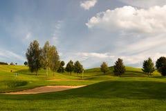 Sandbunker på golfbanan Fotografering för Bildbyråer