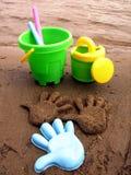sandcakes op het strand Stock Afbeeldingen