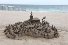 Sandcasle em uma praia Foto de Stock Royalty Free