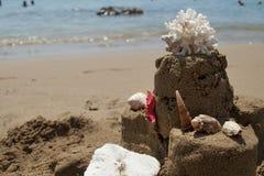 Sandcastle με τον αστερία, το κοράλλι και το θαλασσινό κοχύλι στην αμμώδη παραλία Στοκ Εικόνες