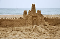 Sandcastle. Builded in beach near the sea Royalty Free Stock Photos