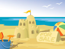 Sandcastle. Beautiful sandcastle for sale, at the beach Stock Image