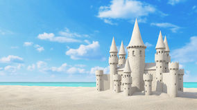 Sandcastle beach on bright sky. 3d rendering Stock Images