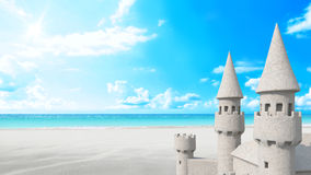 Sandcastle beach on bright sky. 3d rendering Royalty Free Stock Images