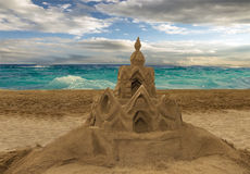 Sandcastle on the beach Royalty Free Stock Photos