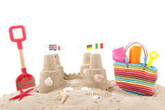 Sandcastle at the beach Stock Photos