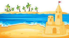 Sandcastle in beach scene. Illustration royalty free illustration
