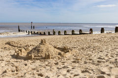 Sandcastle on the Beach, Southwold, Suffolk. Royalty Free Stock Image