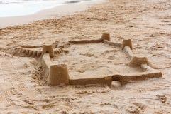 Sandcastle on the beach stock photography